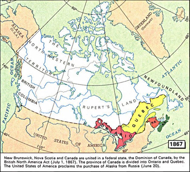 Colonies of British North America Reasons for Confederation 1860 – Map of Canada North